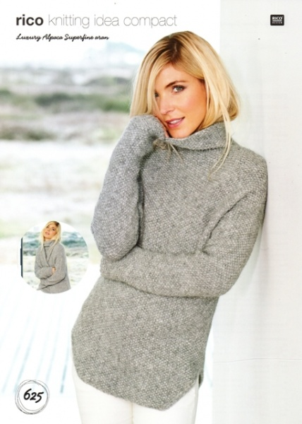 Cottontail Crafts Knitting Pattern 625 Sweater Coat In Rico
