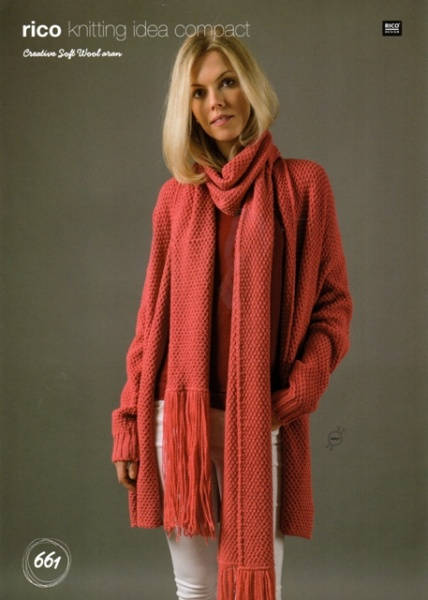 Cottontail Crafts Knitting Pattern 661 Cardigan Scarf In Rico