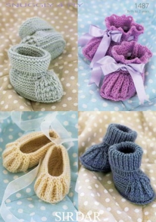 db8f356062cf Cottontail Crafts - Knitting Pattern 1487 - Shoes   Bootees in ...