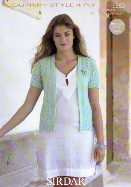 cd56fab7439f Cottontail Crafts - Knitting Pattern 9560 - Ladies Cardigan in ...