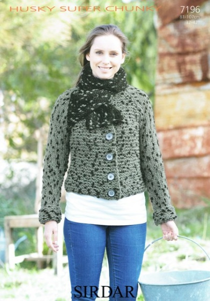 Cottontail Crafts Knitting Pattern 7196 Jacket In Sirdar Husky