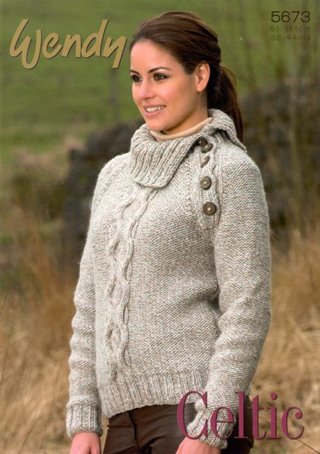 fb9e5659d Cottontail Crafts - Knitting Pattern 5673 - Unisex Cable Sweaters ...