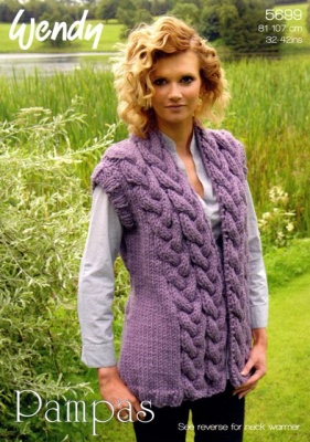 c992e7ff882 Cottontail Crafts - Knitting Pattern 5699 for Cabled Trim Waistcoat ...