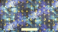Fabric by the Metre - Magical Galaxy - Stars & Moons - Metallic