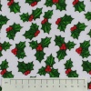 Fabric by the Metre - 856 Christmas Holly - White