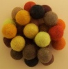 Handmade Felt Accessories - 15mm Balls - Yellows & Browns