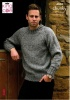 Knitting Pattern - King Cole 4034 - Men's Chunky Tweed - Sweater & Cardigan