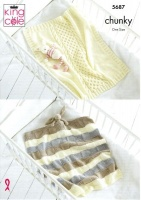 Knitting Pattern - King Cole 5687 - Ultra Soft Chunky - Baby Blankets