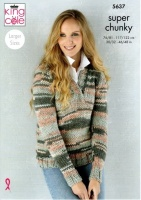 Knitting Pattern - King Cole 5637 - Quartz Super Chunky - Ladies Sweater & Cardigan
