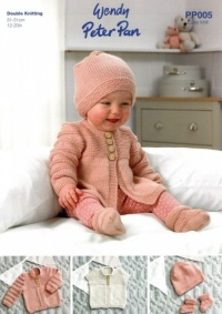 Knitting Pattern - Peter Pan PP005 - DK - Baby Cardigans, Hats & Bootees