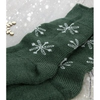 Socks - Bluefaced Leicester - Christmas Snowflake - Green